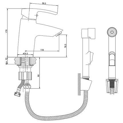 Смеситель для раковины c гигиеническим душем Imprese Horak (05170BT), фото 2