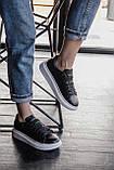 🔥 Кроссовки мужские Alexander McQueen александер макквин черные повседневные спортивные кожаные, фото 3