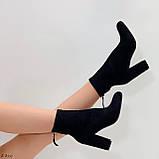 Женские ботильоны- ботинки ДЕМИ на каблуке 9 см черные эко замш весна/ осень, фото 6