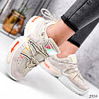 Женские бежевые кроссовки, экокожа/текстиль, фото 3