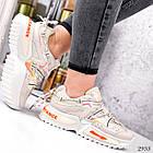 Женские бежевые кроссовки, экокожа/текстиль, фото 4