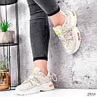 Женские бежевые кроссовки, экокожа/текстиль, фото 5