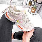 Женские бежевые кроссовки, экокожа/текстиль, фото 6