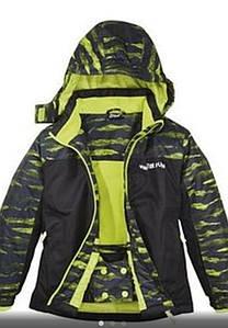 Термокуртка зимняя лыжная для мальчика черная  с салатовым Crivit р.122/128см