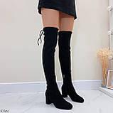 Женские черные ДЕМИ сапоги- ботфорты на каблуке 6,5 см эко- замш весна / осень, фото 8