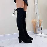 Женские черные ДЕМИ сапоги- ботфорты на каблуке 6,5 см эко- замш весна / осень, фото 2