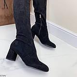 Женские черные ДЕМИ сапоги- ботфорты на каблуке 6,5 см эко- замш весна / осень, фото 5
