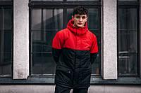 Демисезонная мужская куртка красно - черная