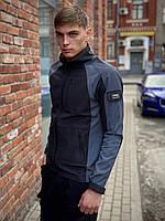 Мужская весенняя куртка черно-серая