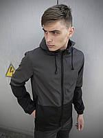 Мужская куртка ветровка серо-черная