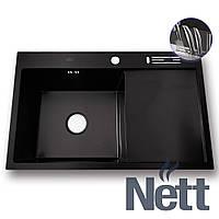 Черная раковина для кухни с крылом нержавейка с PVD покрытием Nett