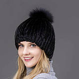 Жіноча норкова шапка з бубоном   Норкова чорна шапка на підкладці, фото 4