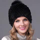 Жіноча норкова шапка з бубоном   Норкова чорна шапка на підкладці, фото 2