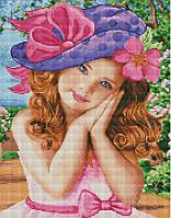 Алмазная мозаика 40*50 см Девочка в шляпе