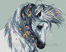 Алмазная мозаика 40*50 см Белая лошадь