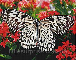 Алмазная мозаика 40*50 см  Бабочка на цветах