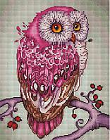 Алмазная мозаика 40*50 см  Розовая сова