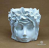 """Вазон дизайнерский """"Богиня Флора"""". Белый. Горшок ручной работы. Эксклюзивное изделие. Декор интерьера."""