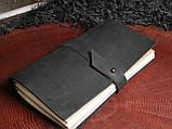 Кожаный блокнот чёрный, фото 4