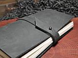 Кожаный блокнот чёрный, фото 3