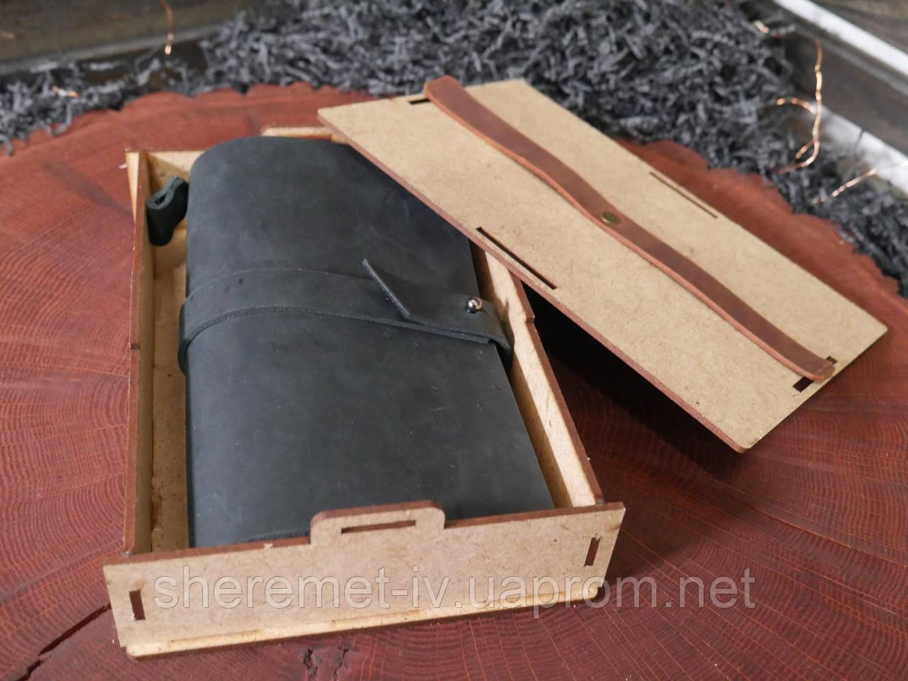 Кожаный блокнот чёрный