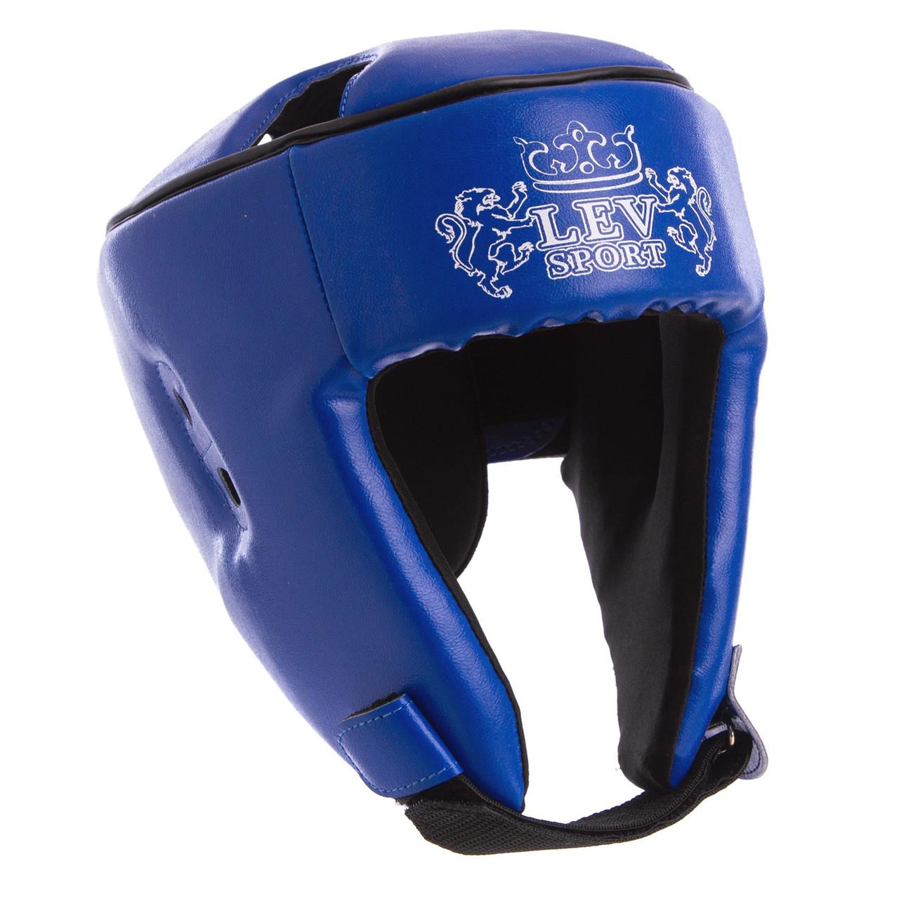 Боксерський шолом відкритий синій LEV Кожзам LV-4293