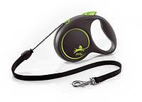 Flexi (Флекси) Рулетка для собак, кішок і гризунів Design М 20кг*5м (чорна зелений горох)
