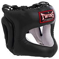 Шлем кожаный боксерский с бампером черный TWINS HGL-9, фото 1