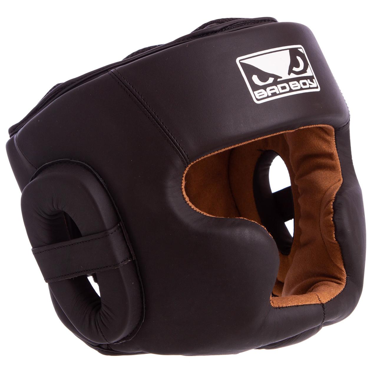 Боксерський шолом закритий з повним захистом шкіряний чорний BAD BOY VL-6622
