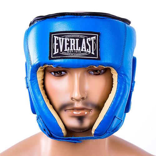 Боксерский кожаный шлем синий EVERLAST EVSV480