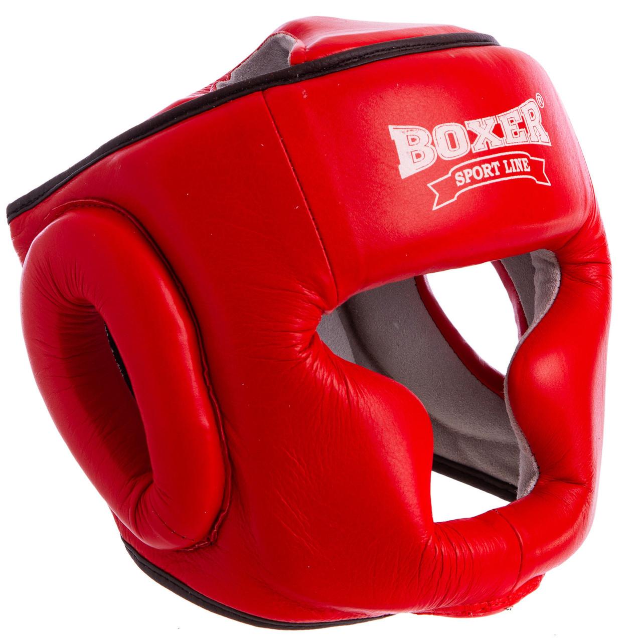 Шолом боксерський шкіряний червоний BOXER 2033