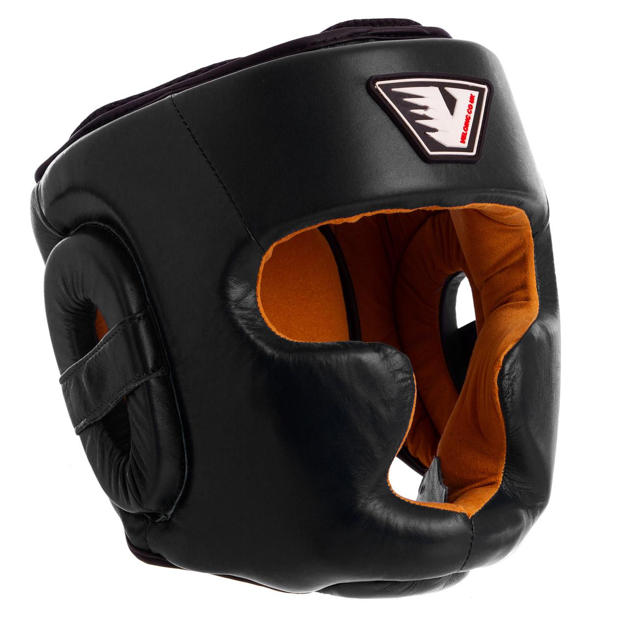 Шлем для бокса кожаный закрытый с полной защитой черный VELO VL-8193