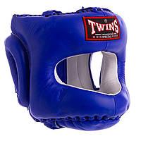 Боксерский шлем с бампером кожаный синий TWINS HGL-10 OF