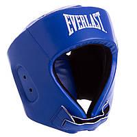 Боксерский шлем открытый с усиленной защитой макушки синий PU EVERLAST BO-8268 OF