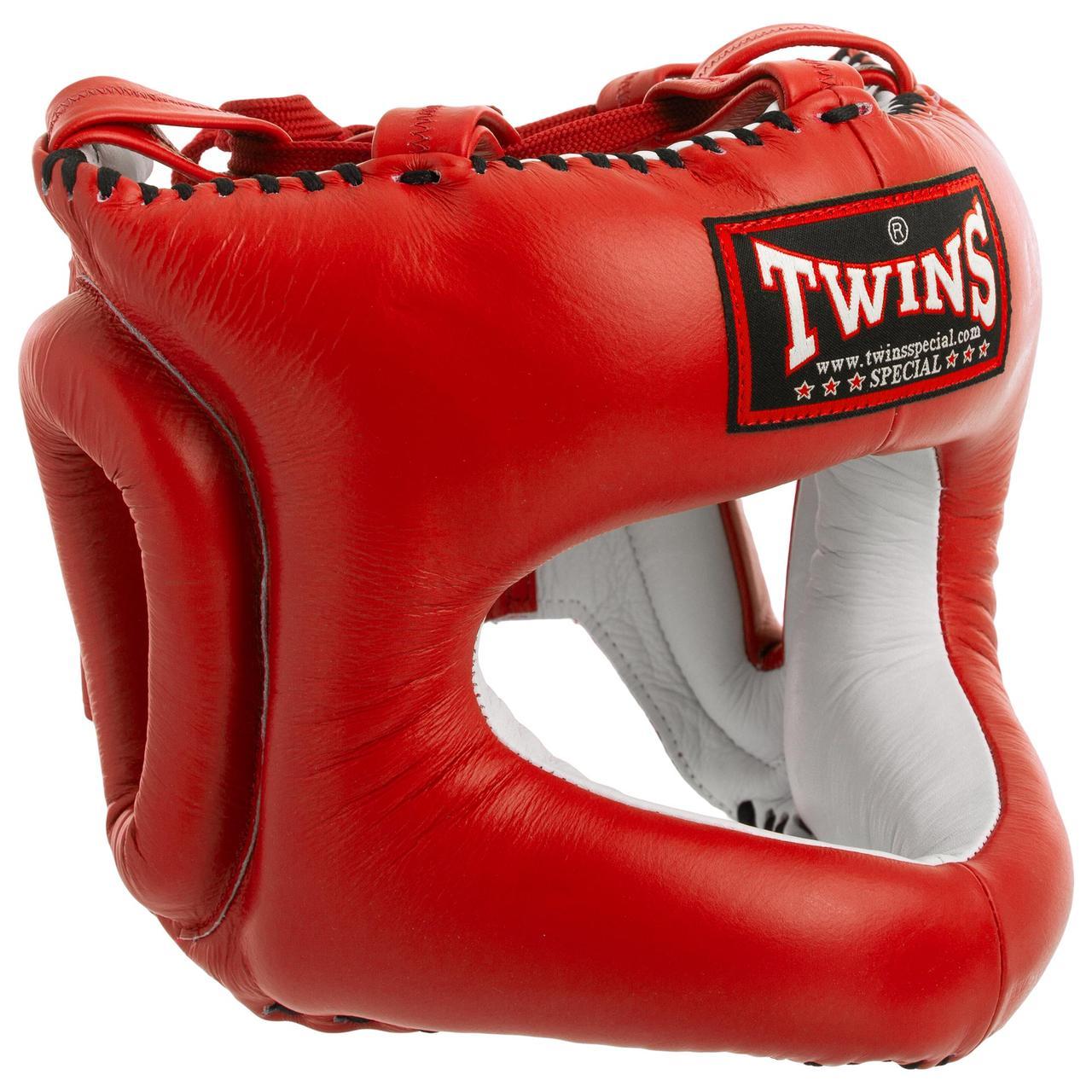 Боксерский шлем с бампером кожаный красный TWINS HGL-9