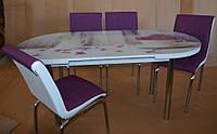 """Комплект обеденной мебели """"Vazo"""" 130*70 см (стол овальный, каленное стекло + 4 стула) Mobilgen, Турция"""