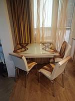 """Комплект обеденной мебели """"Золотая волна"""" (стол ДСП, каленное стекло + 4 стула) Mobilgen, Турция"""