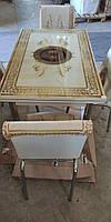 """Комплект обеденной мебели """"Золотой узор"""" (стол ДСП, каленное стекло + 4 стула) Mobilgen, Турция"""