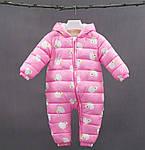 Комбінезон для дівчинки утеплений демісезонний Качечки, рожевий Berni Kids