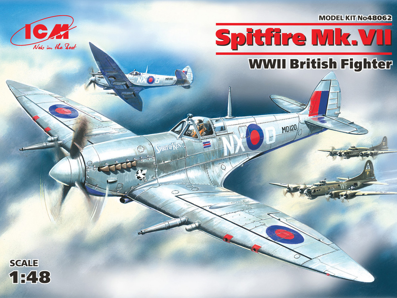 Британский истребитель Spitfire Mk. VII. Сборная модель в масштабе 1/48. ICM 48062
