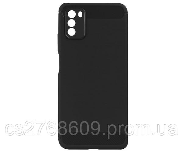 """Чехол силікон """"З карбоновими вставками"""" Xiaomi Poco M3 чорний"""