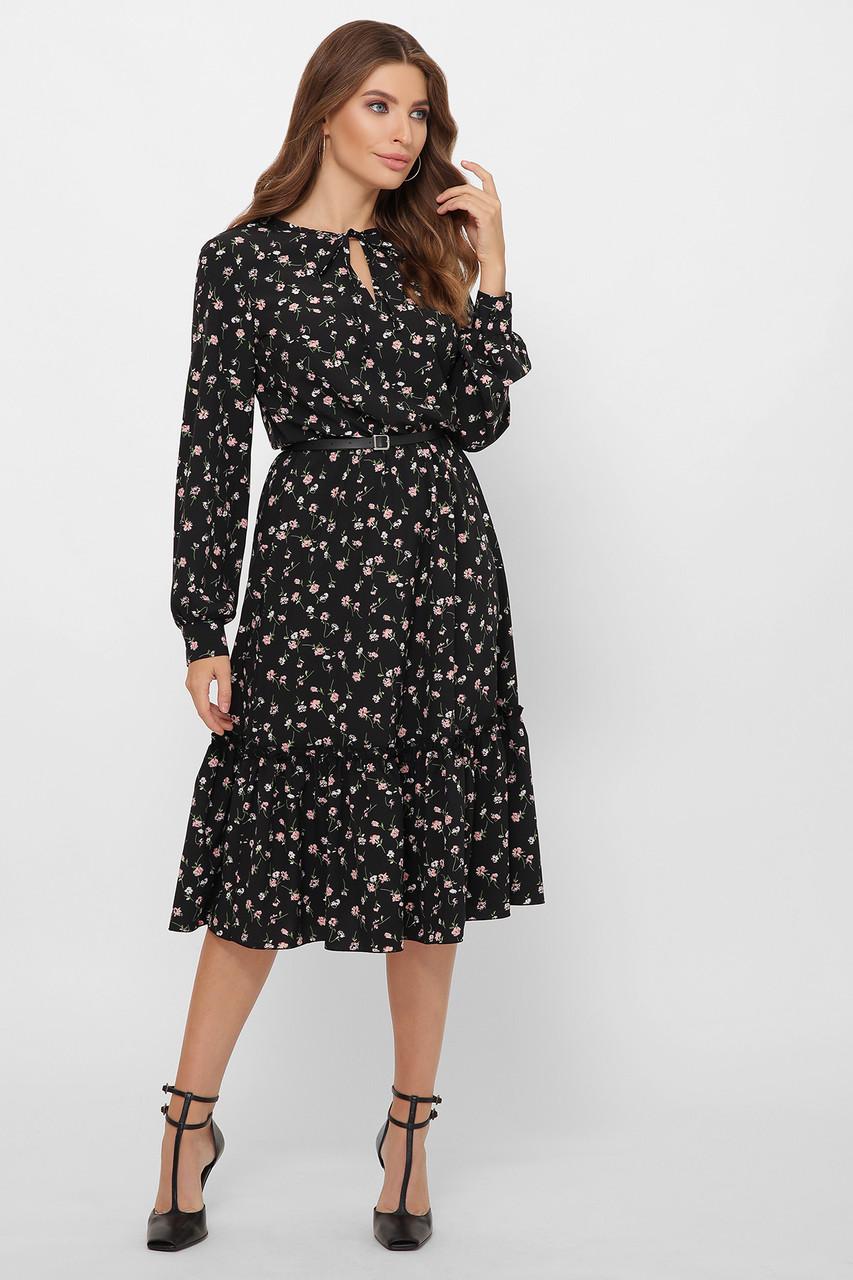 Чорне плаття з квітковим принтом
