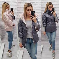 Стильная двусторонняя куртка, Новинка 2021, есть батал, арт 415, цвет мокко/серый