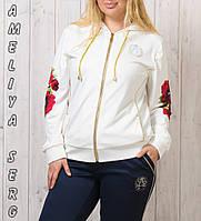 Турецкий стильный прогулочный спортивный костюм женский на молнии № 8871/8872 комбинированый, фото 1