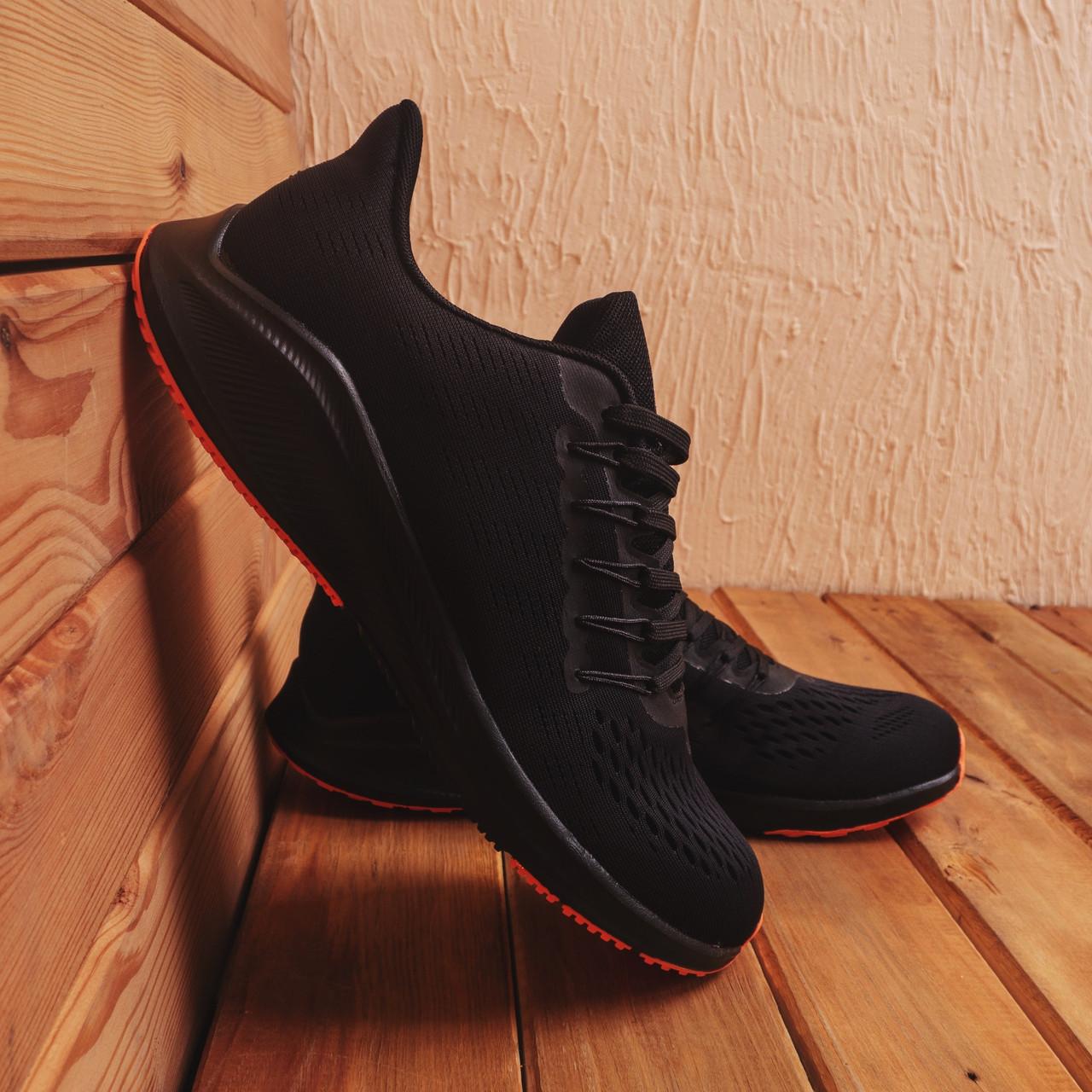 Чоловічі кросівки Стилі Заїр (чорні з помаранчевої підошвою)