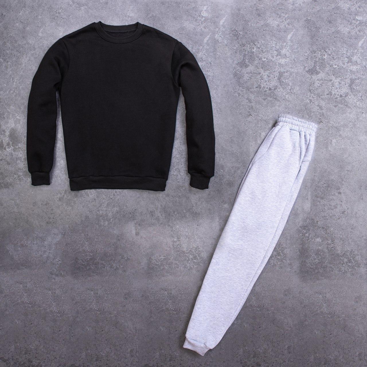 Мужской зимний спортивный костюм 99 (черный с серым)