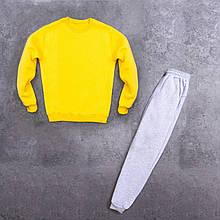 Мужской зимний спортивный костюм 99 (желтый с серым) - S