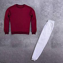 Мужской зимний спортивный костюм 99 (бордовый с серым) - S