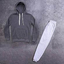Мужской зимний спортивный костюм 98 (антрацит с серым) - S