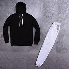 Мужской зимний спортивный костюм 98 (черный с серым) - S